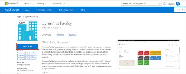 Dynamics Facility on Microsoft Appsource