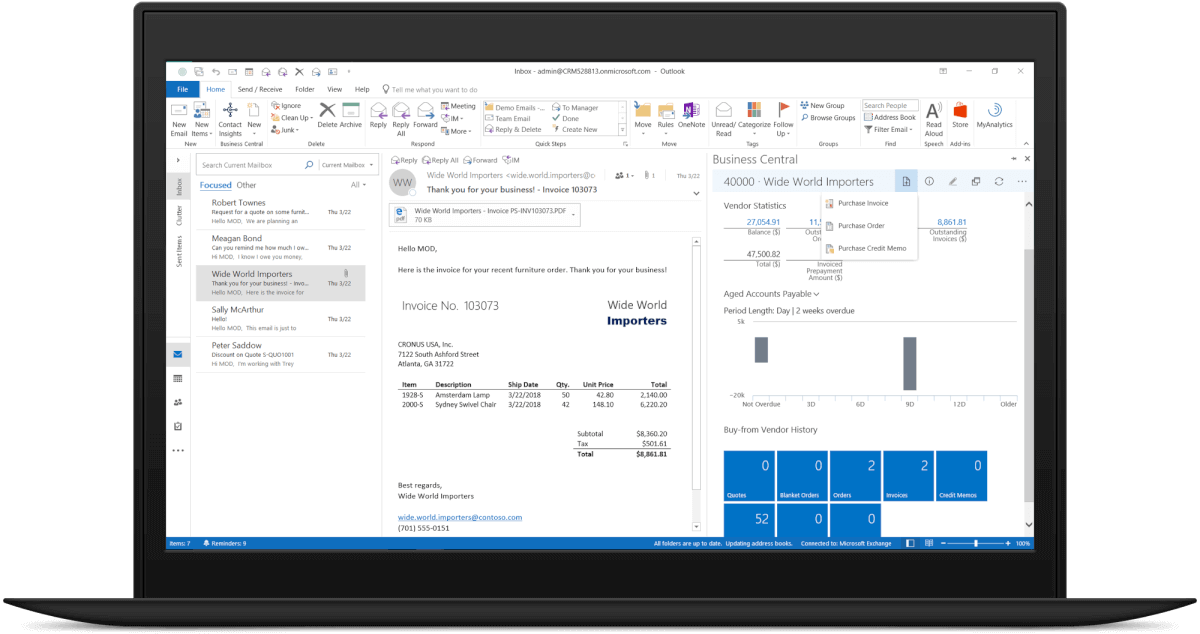 Dynamics 365 Business Central screenshot Outlook